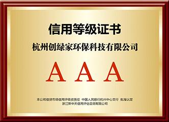 AAA信用等級證書